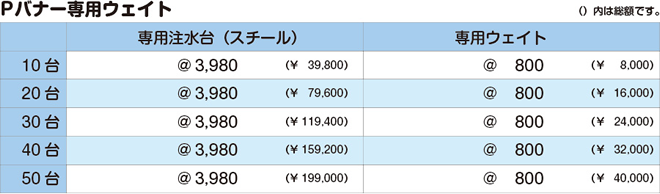 Pバナー|価格表