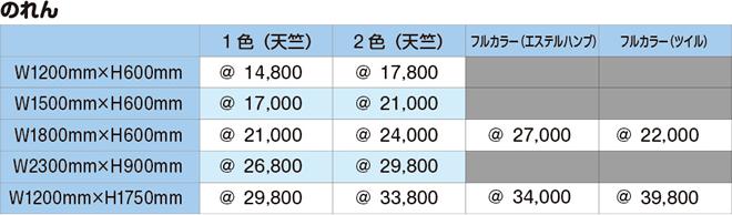 のれん|価格表