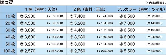はっぴ|価格表